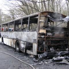 Požiar autobusu pri obci Banka
